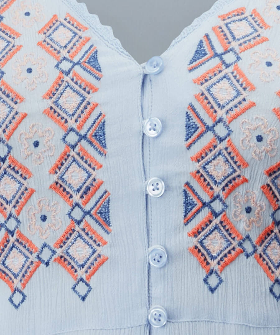 Crinkle Embroidered Blouse Back