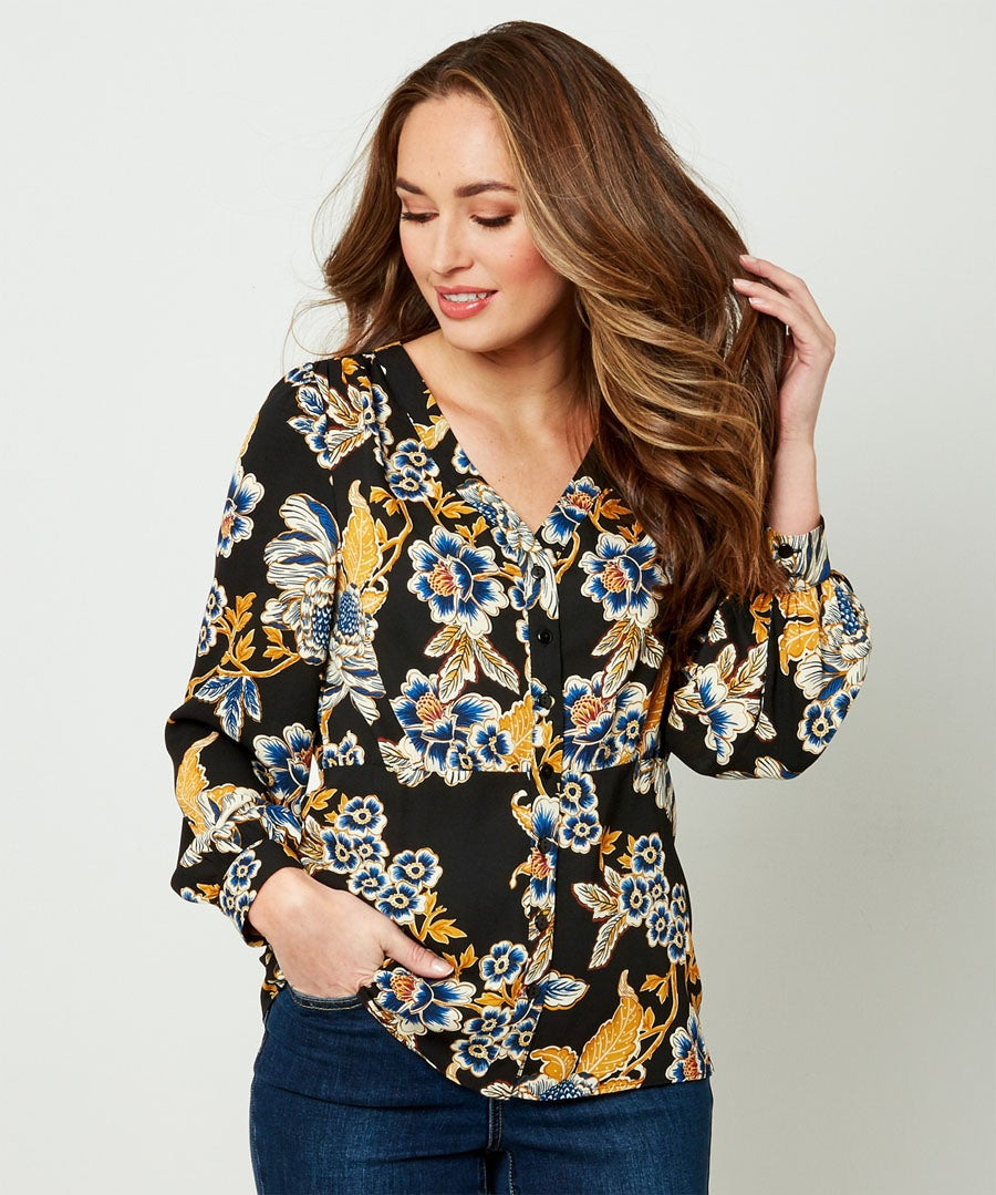 Capsule Collection Button Down Blouse Model Front