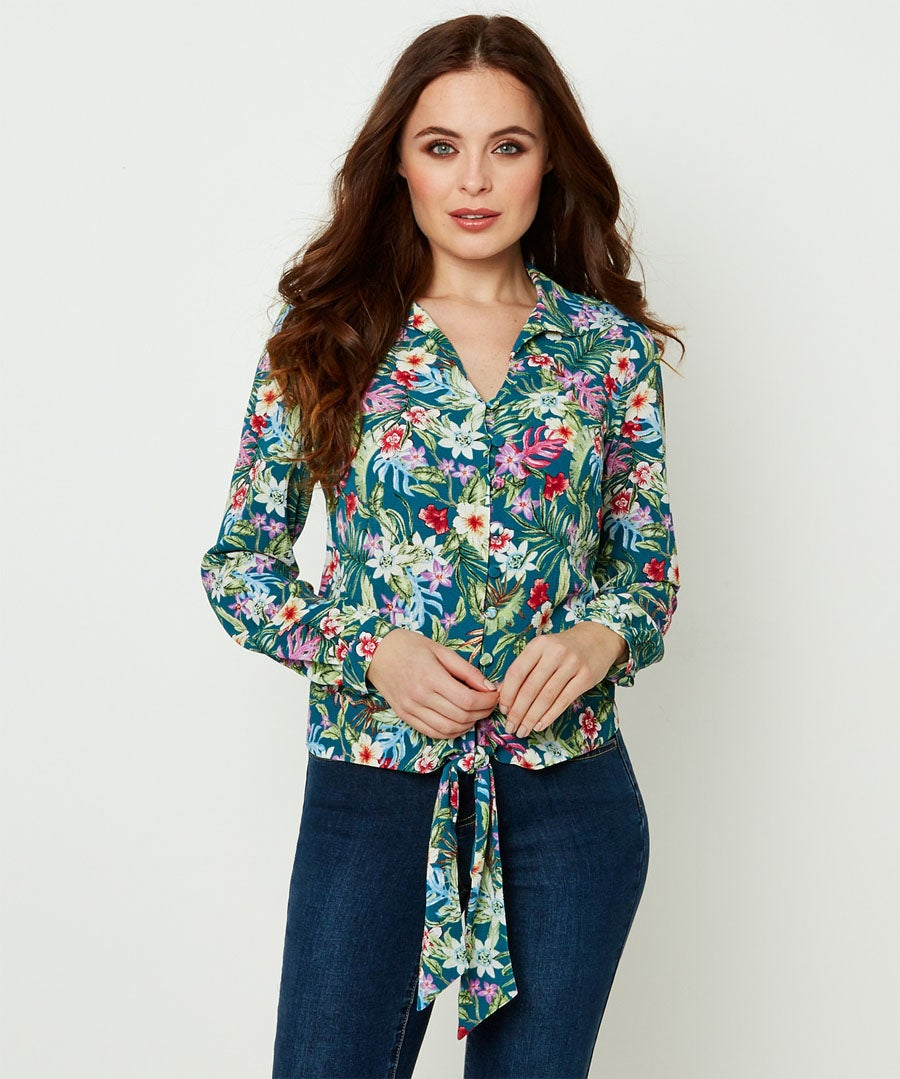 Jazzy Print Blouse Model Front