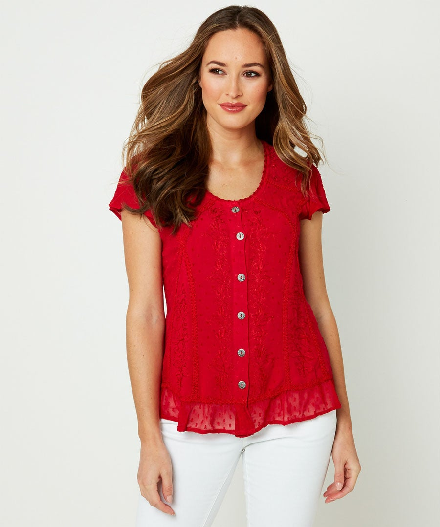 Radiant Embroidered Blouse Model Front