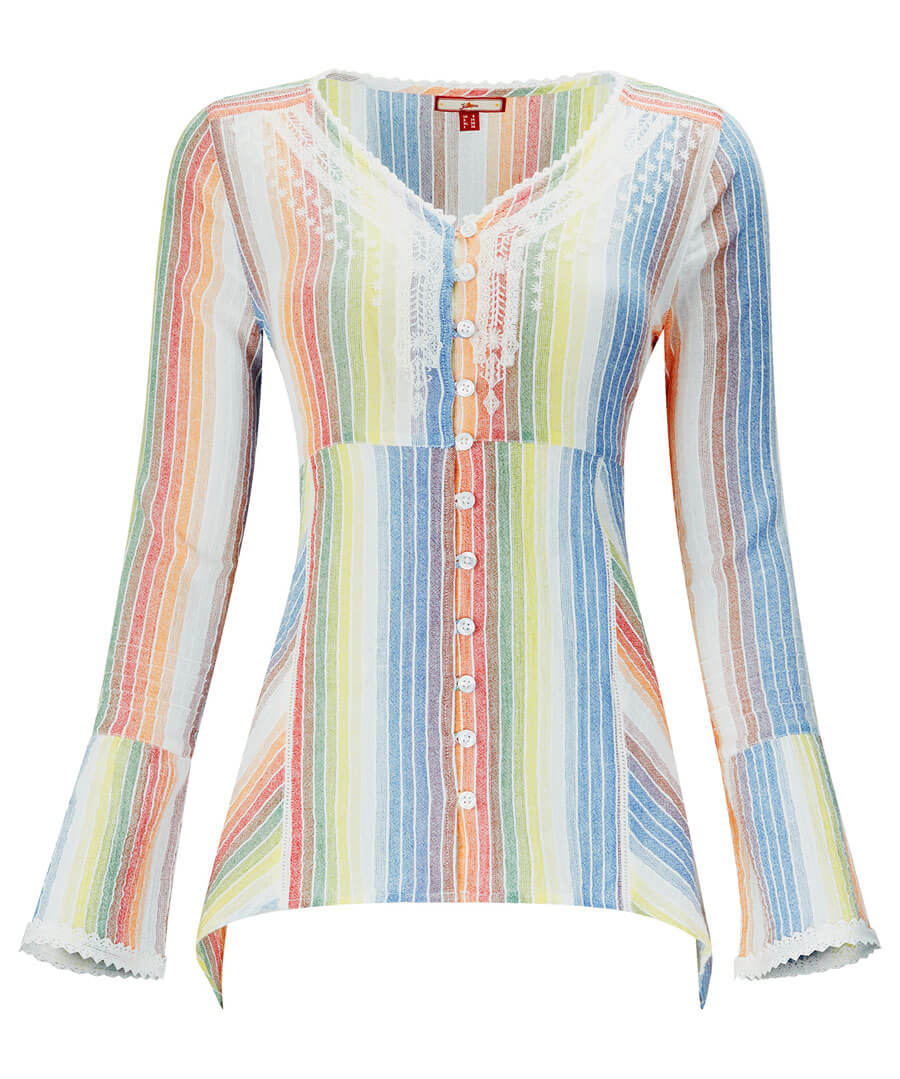 Rainbow Cheesecloth Blouse Model Front