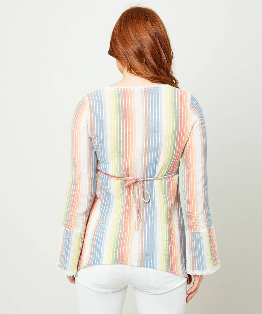 Rainbow Cheesecloth Blouse Model Back