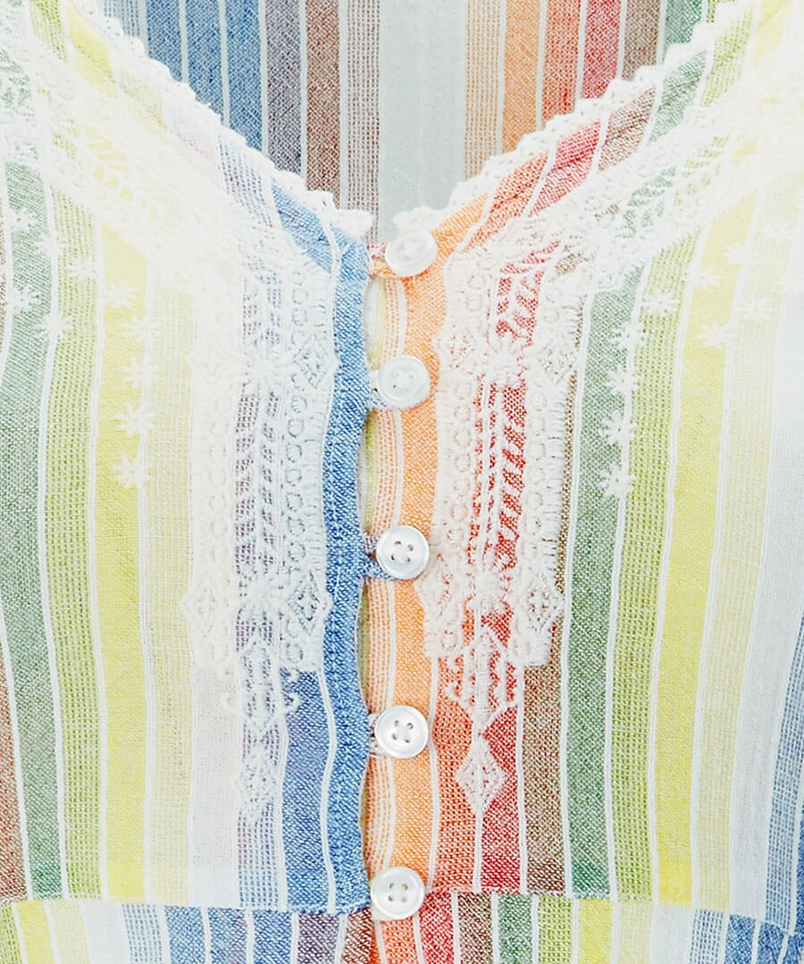 Rainbow Cheesecloth Blouse Back