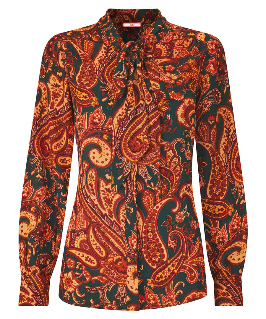 1960s Style Clothing & 60s Fashion Tie Neck Printed Blouse $52.00 AT vintagedancer.com