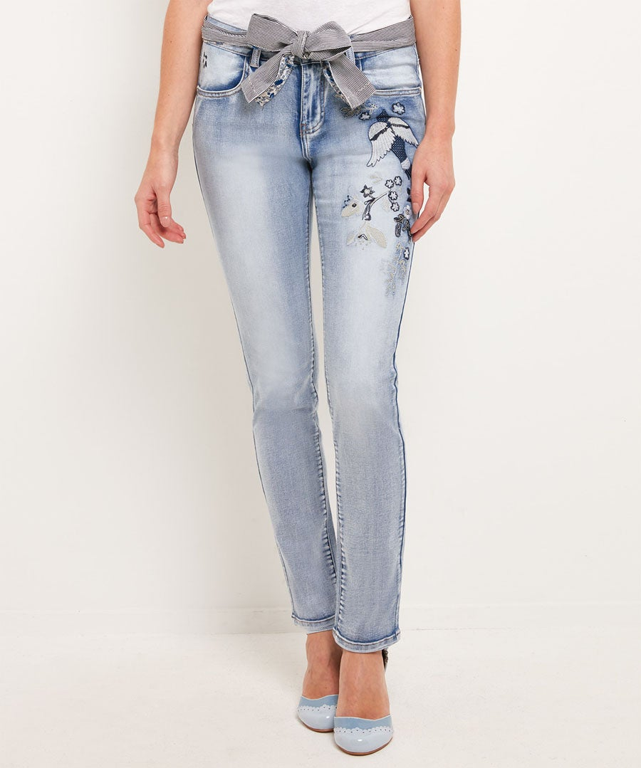 Embroidered Bird Applique Jeans Model Front