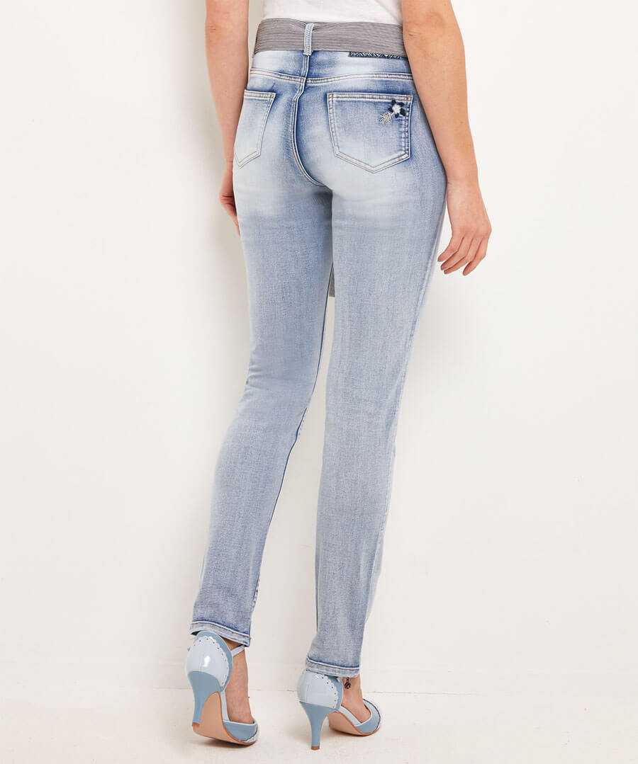 Embroidered Bird Applique Jeans Model Back