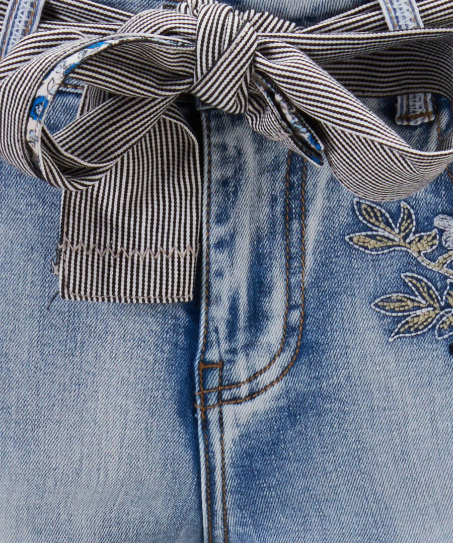 Embroidered Bird Applique Jeans