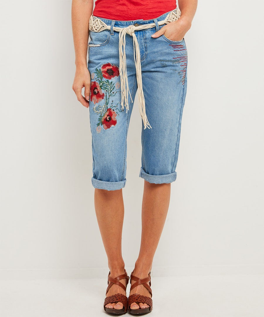 Beautiful Embroidered Cropped Jeans Model Front