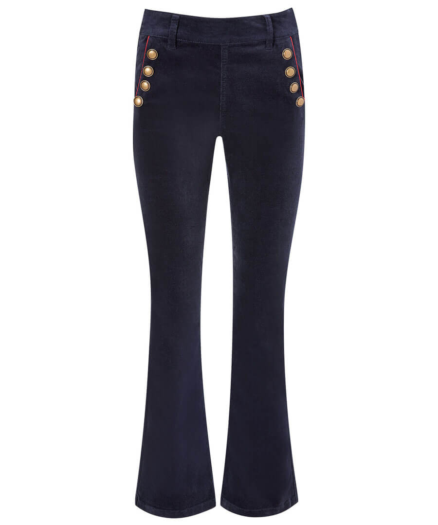 Bell Bottom Cord Trousers Model Front