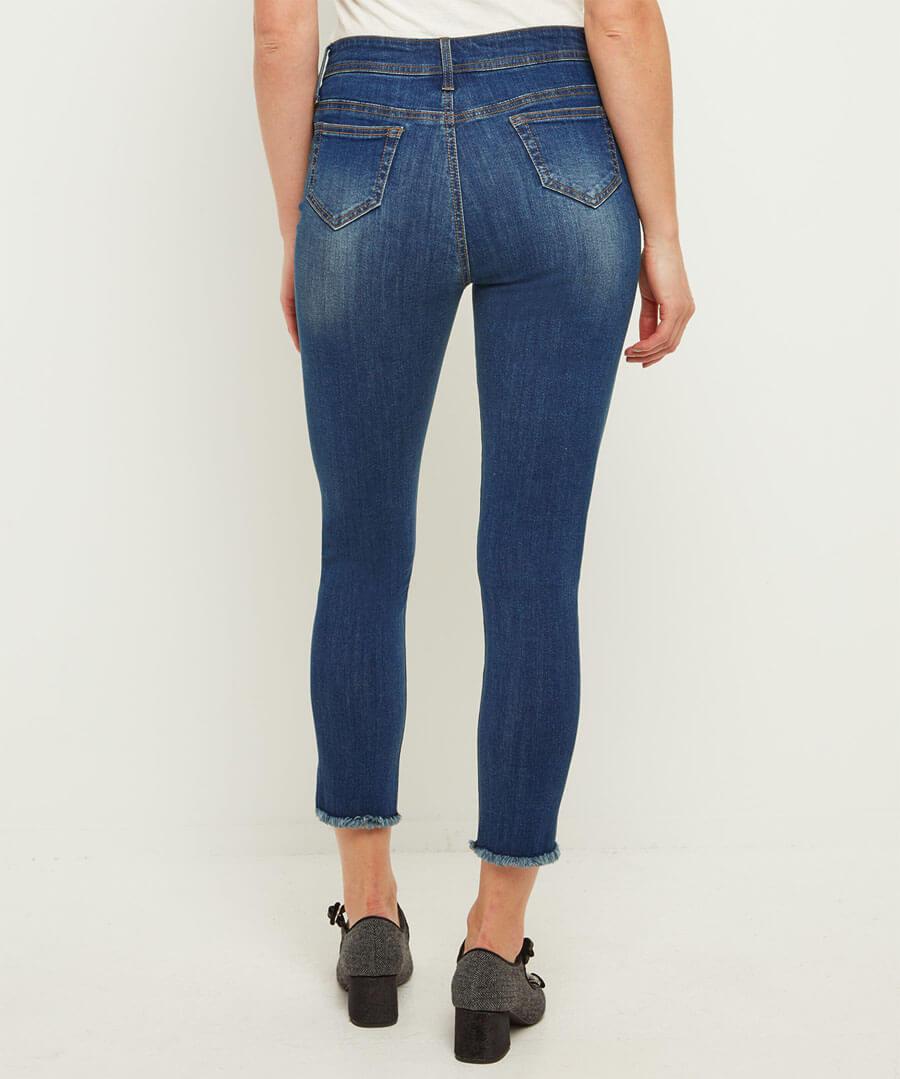 Frayed Hem Jeans Model Back