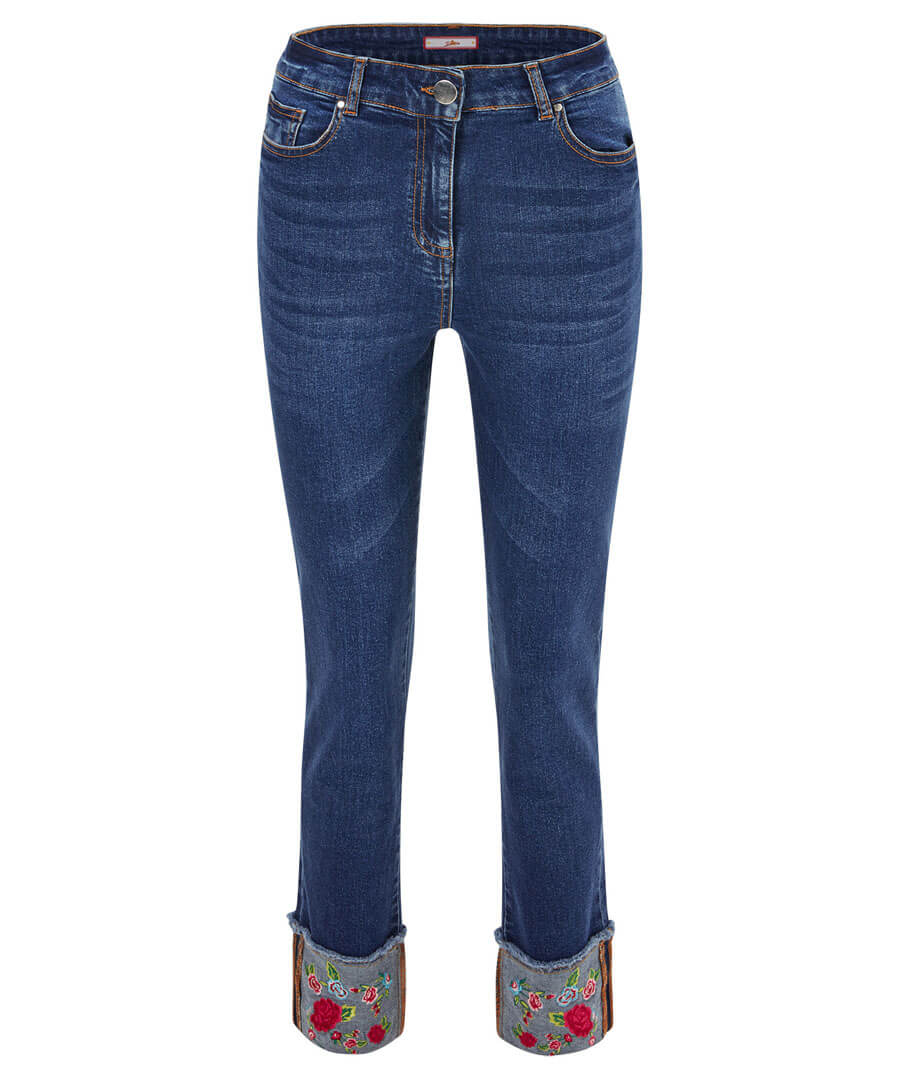 Embroidered Turn Up Jeans Model Front