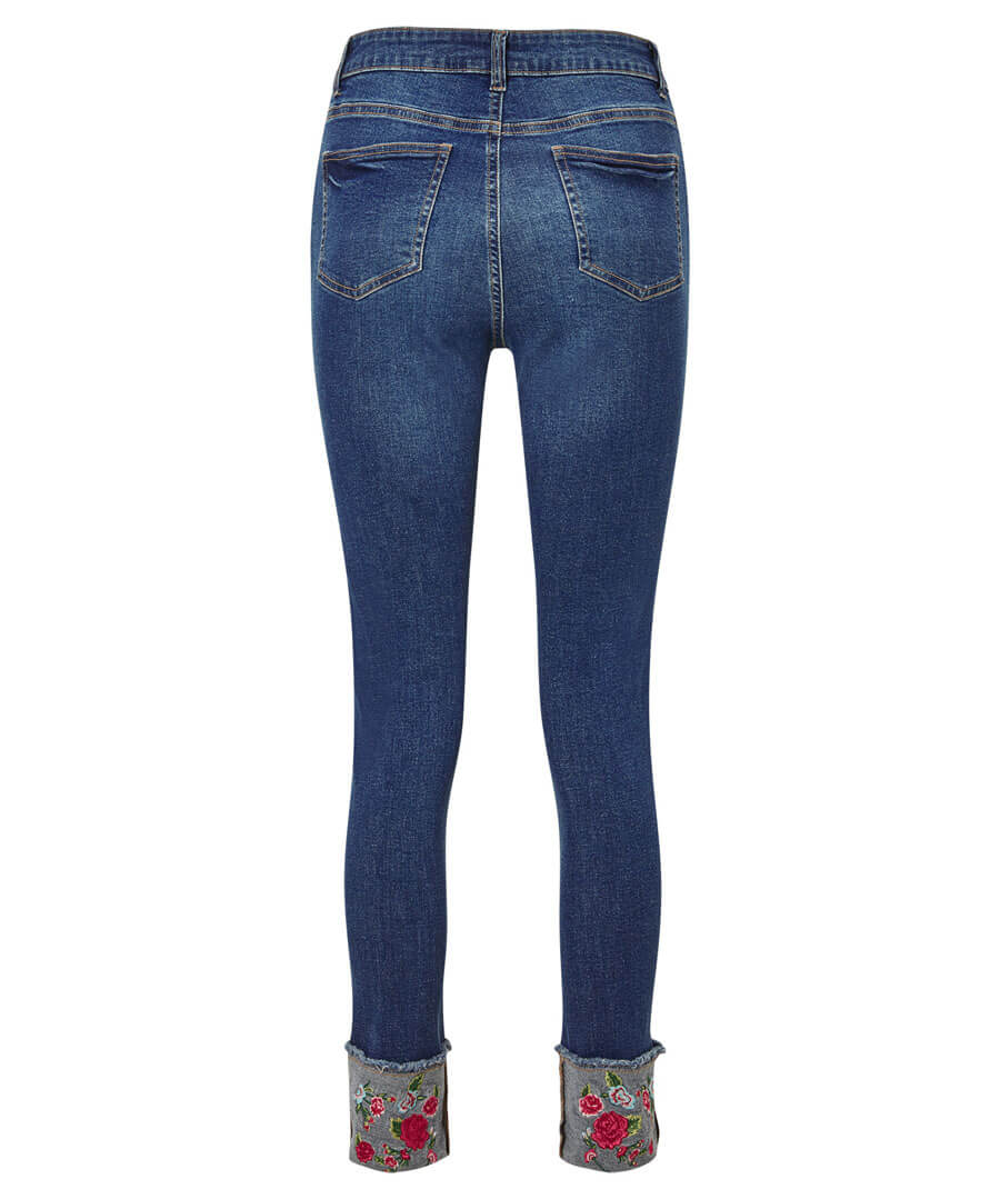 Embroidered Turn Up Jeans