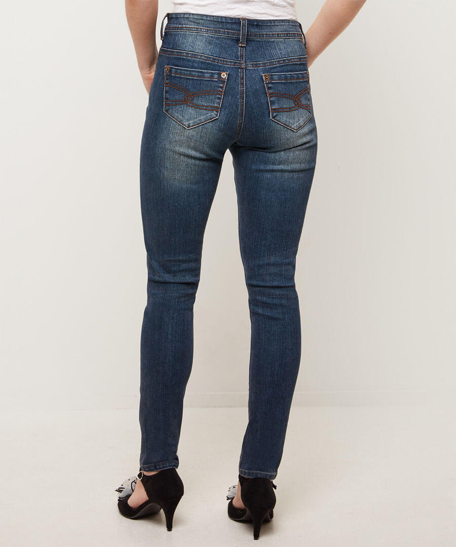 Essential Slim Mid Wash Jeans Model Back