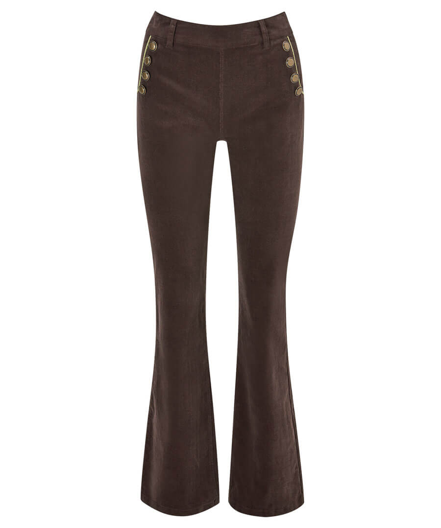 Button Detail Cord Trousers Model Front