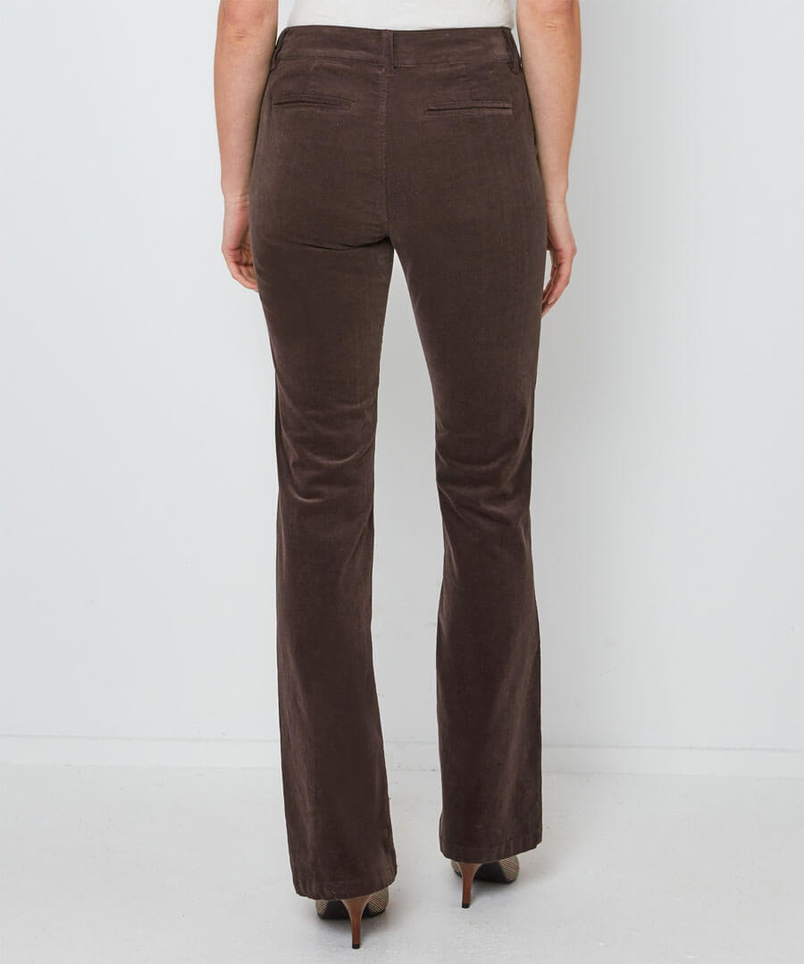 Button Detail Cord Trousers Model Back