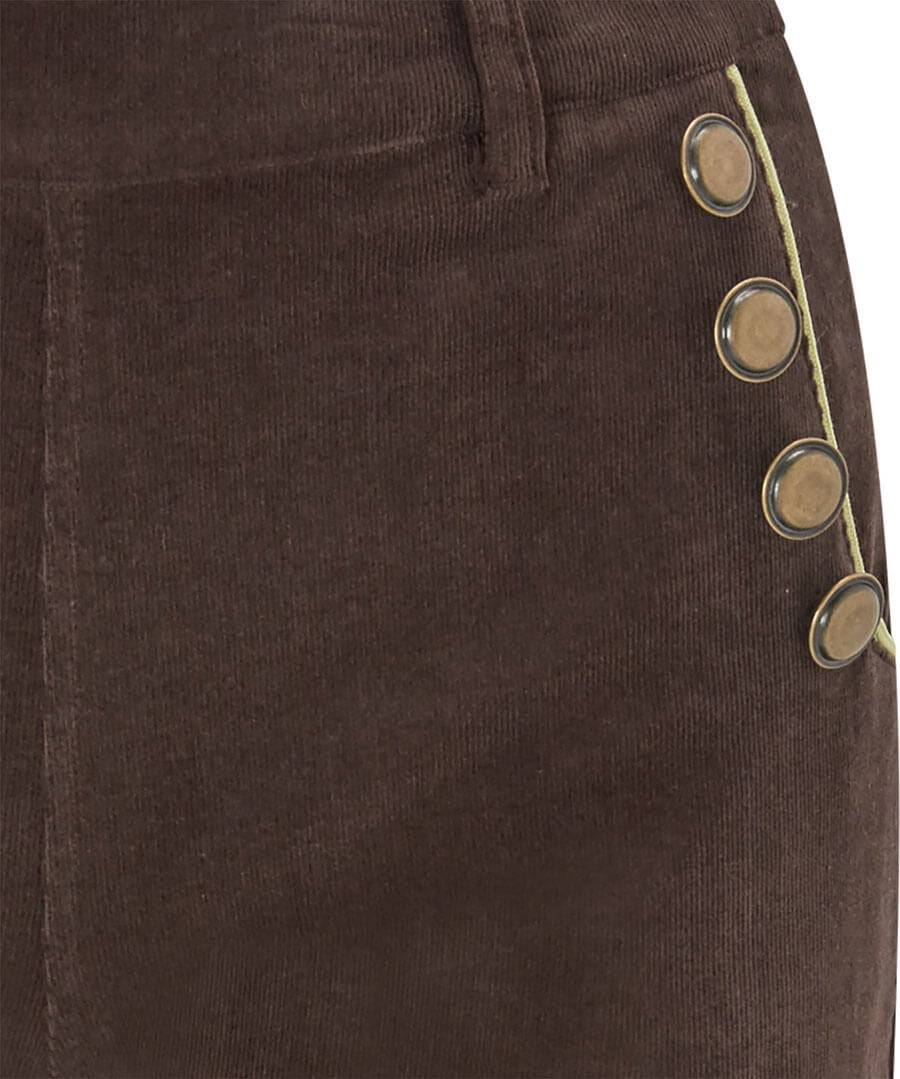Button Detail Cord Trousers Back