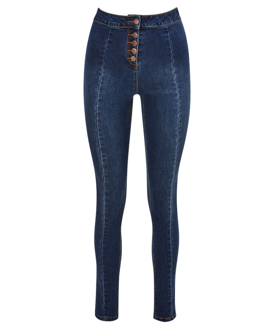 High Waisted Button Jeans Model Front