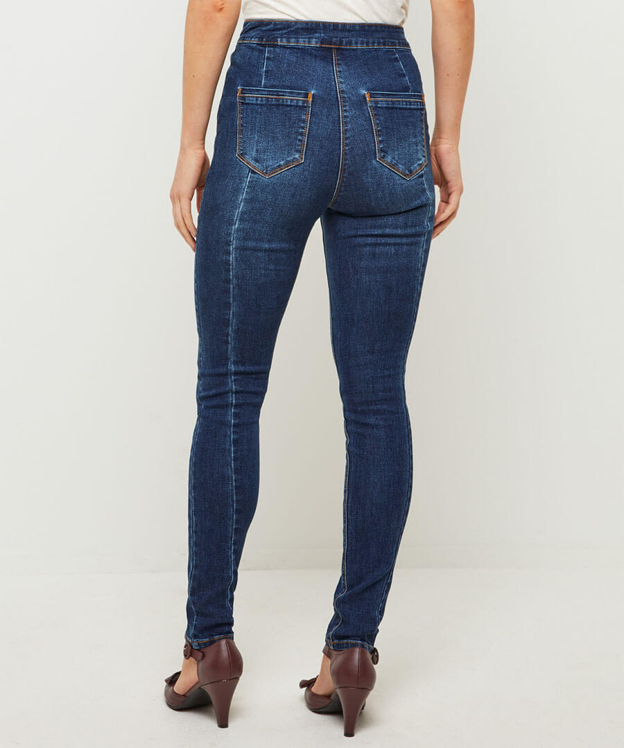 High Waisted Button Jeans Model Back