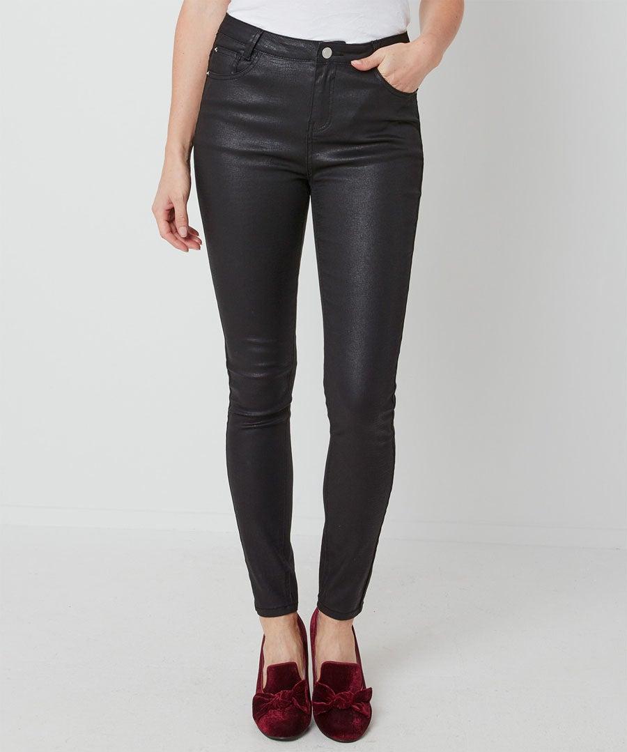 Embossed Snake Print Trousers Model Front