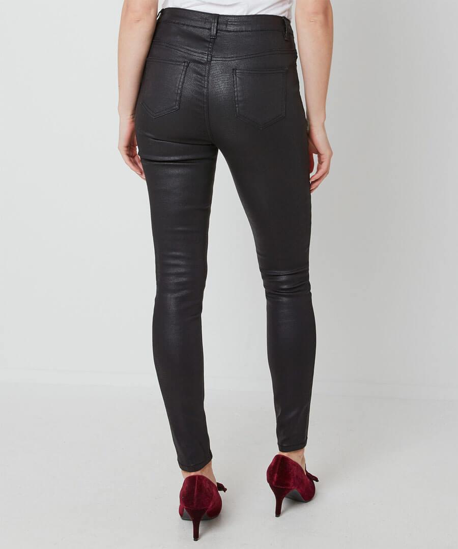Embossed Snake Print Trousers Model Back