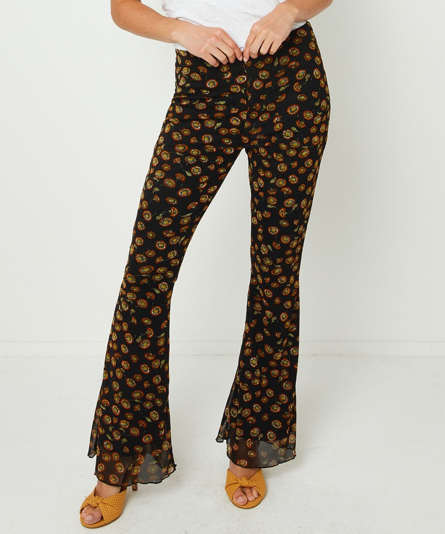 Floral Flared Trousers Model Front