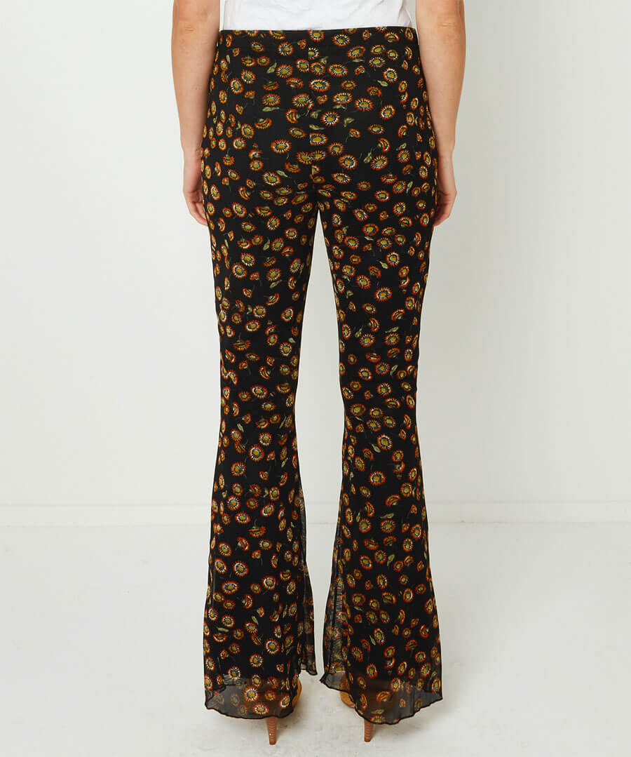 Floral Flared Trousers Model Back