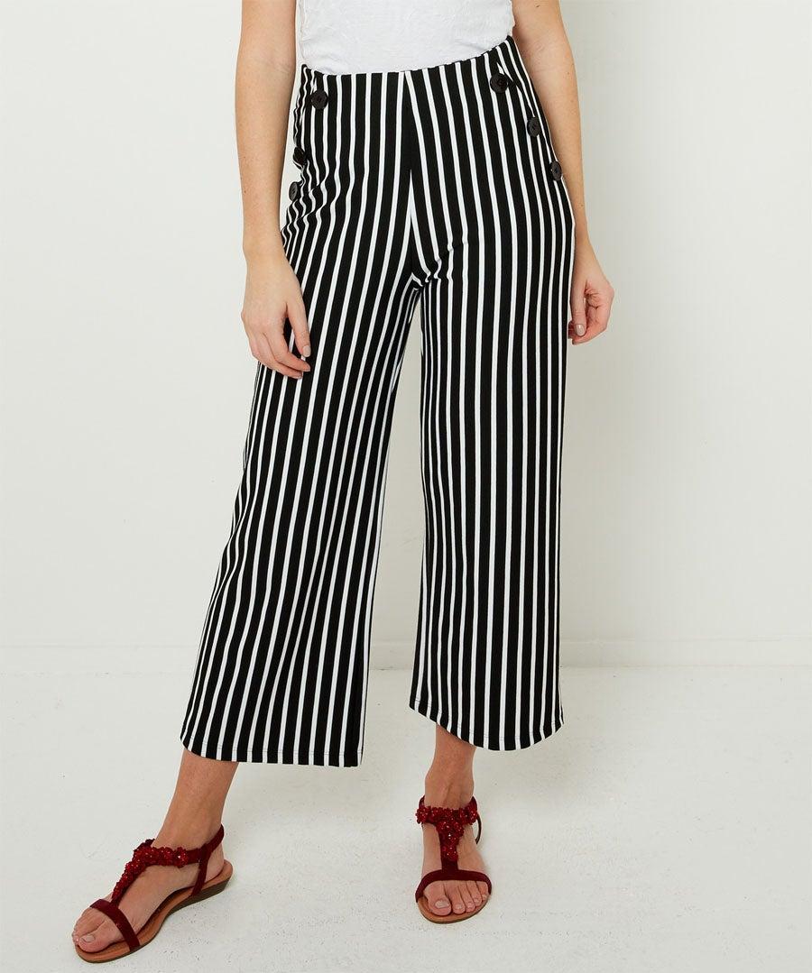 Easy Wearing Stripe Culottes Model Front