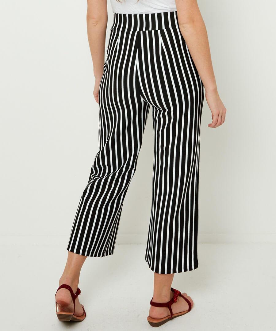 Easy Wearing Stripe Culottes Model Back