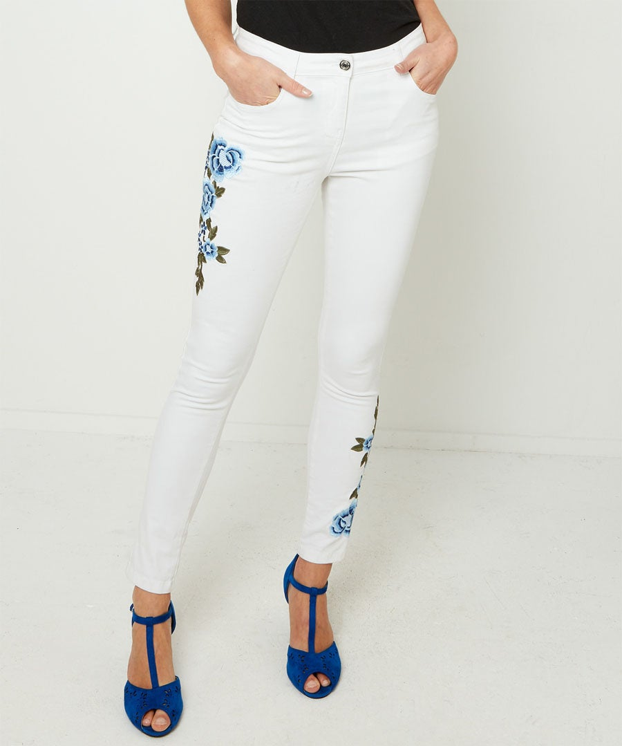Embroidered White Jeans Model Front