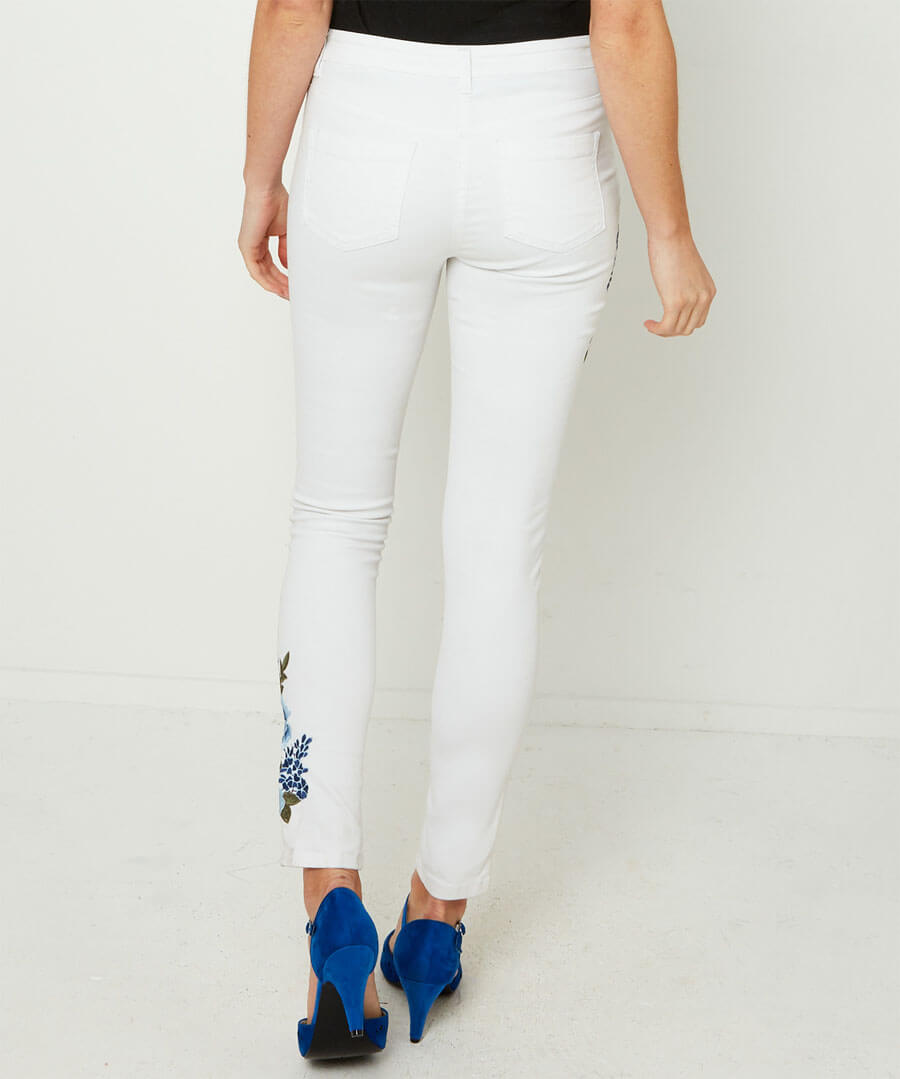Embroidered White Jeans Model Back