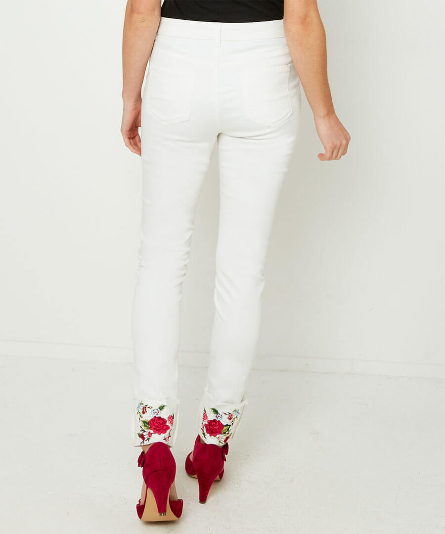Embroidered Turn Up Jeans Model Back