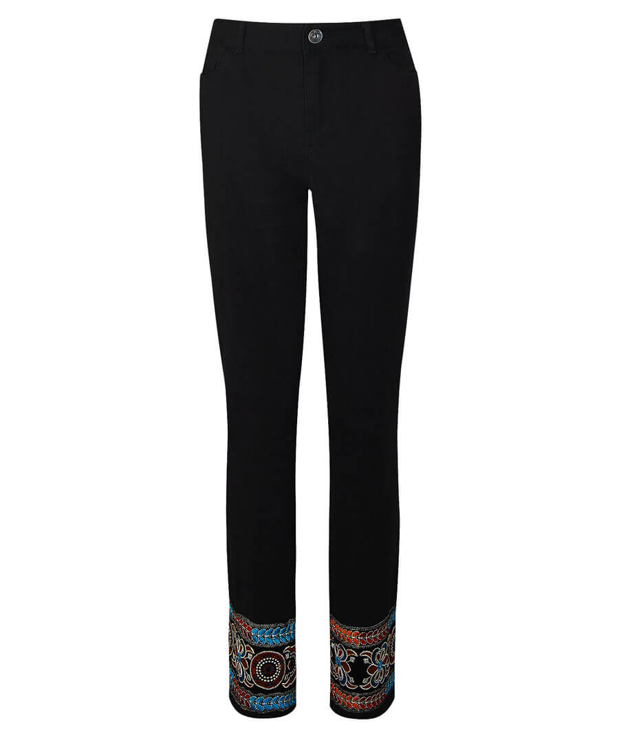Ibiza Embroidered Jeans Model Front