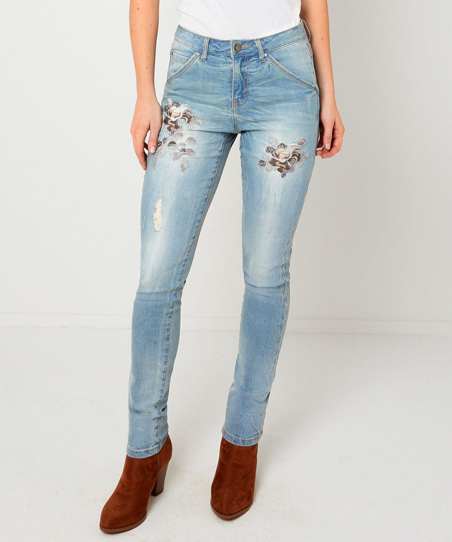Embroidered Flowers Jeans Model Front