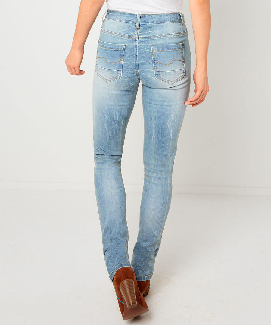 Embroidered Flowers Jeans Model Back