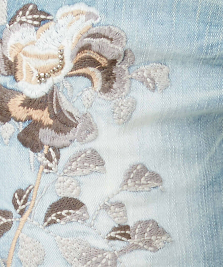 Embroidered Flowers Jeans Back