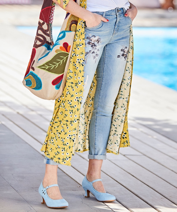 Embroidered Flowers Jeans