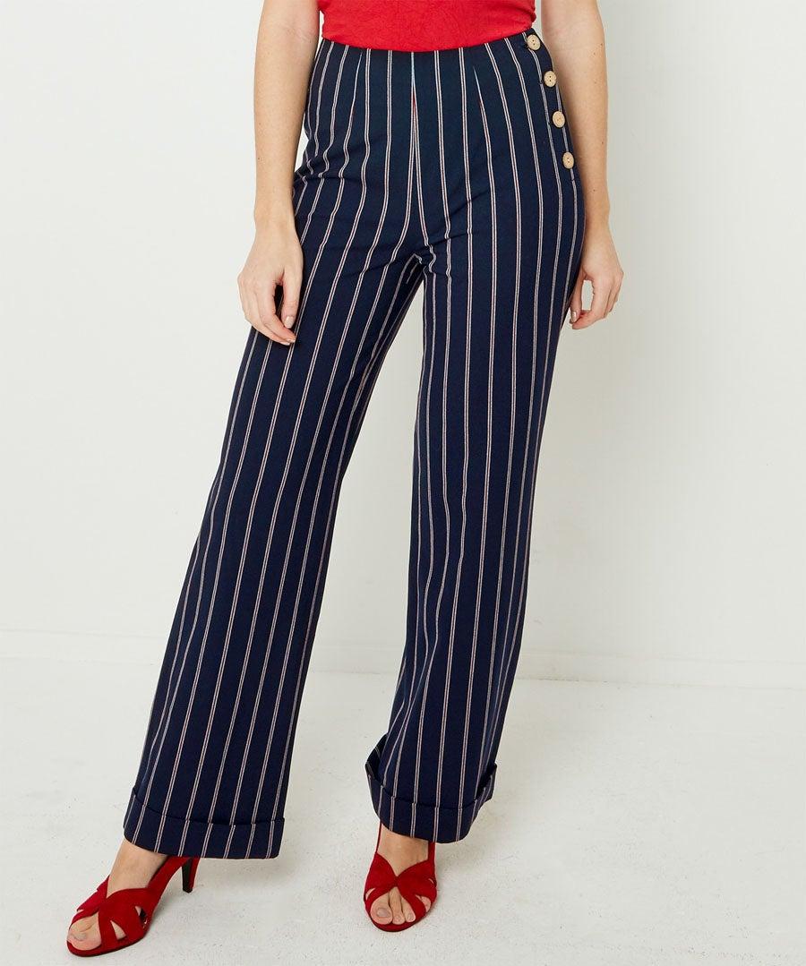 Stripe Wide Leg Trousers Model Front