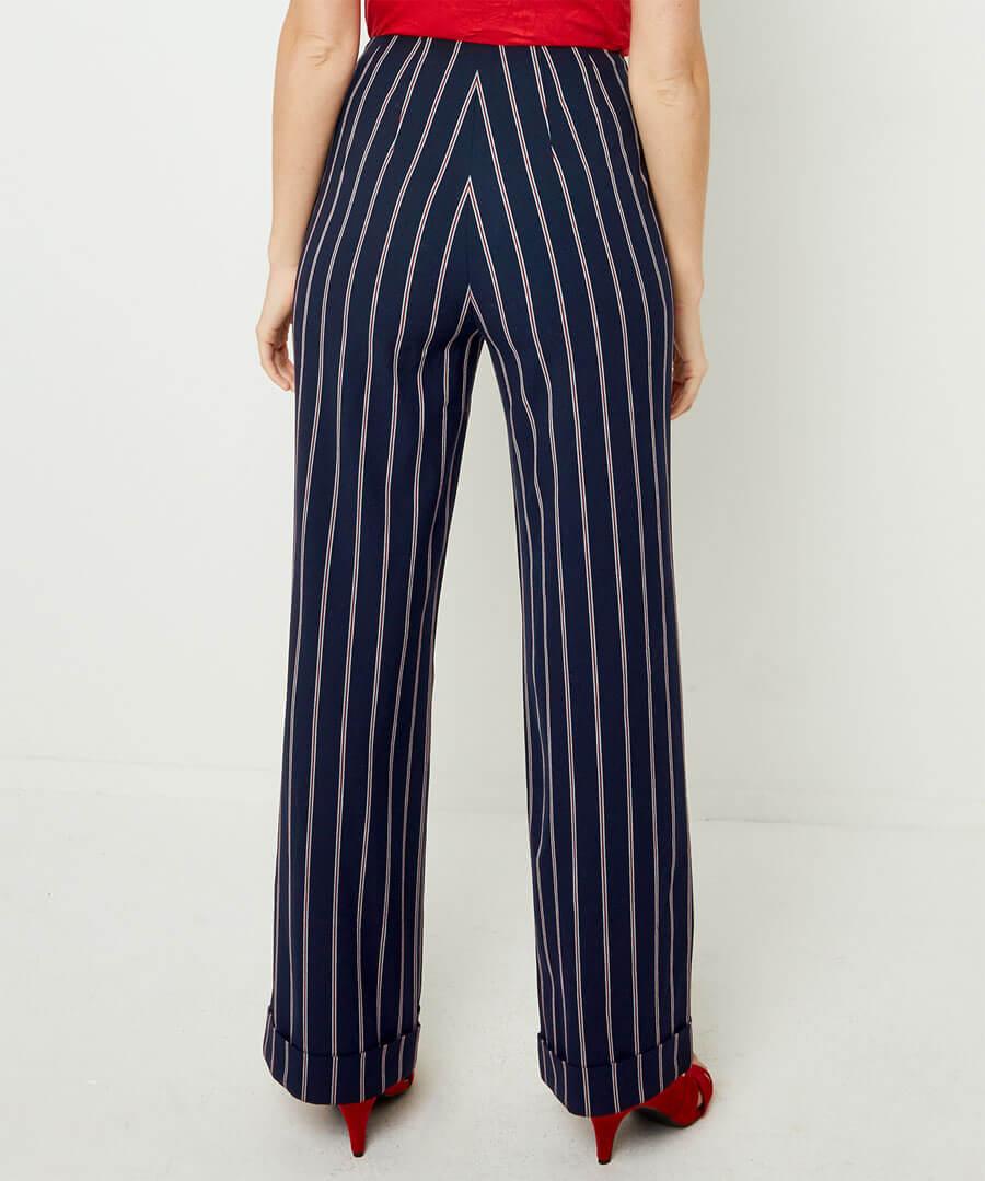 Stripe Wide Leg Trousers Model Back