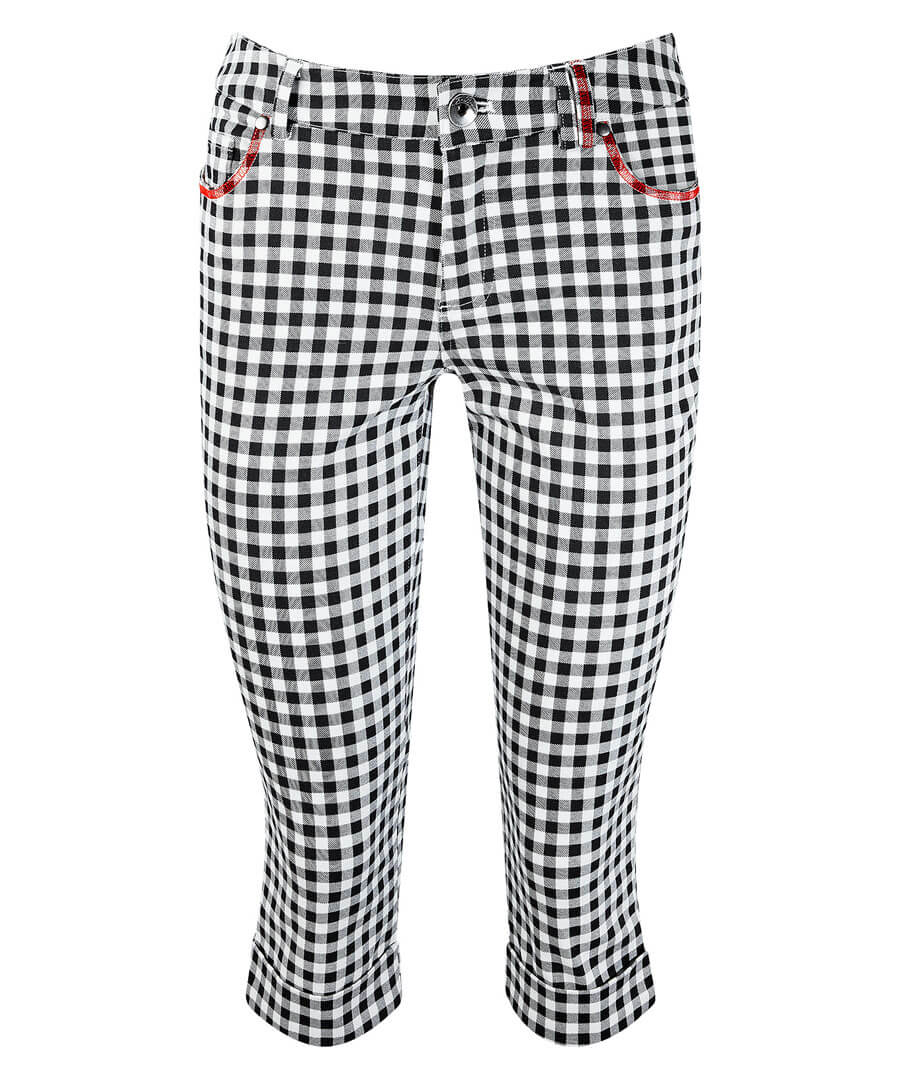 Gingham Capri Pants Model Front