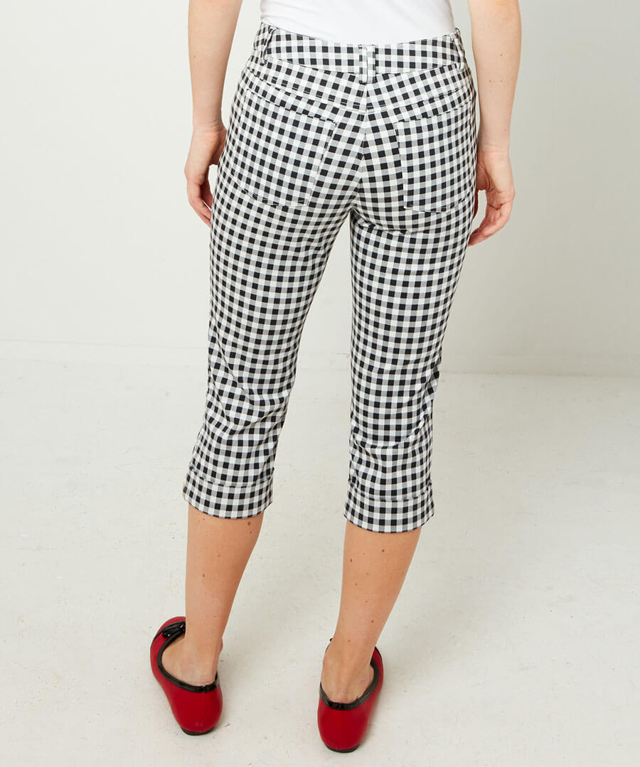 Gingham Capri Pants Model Back