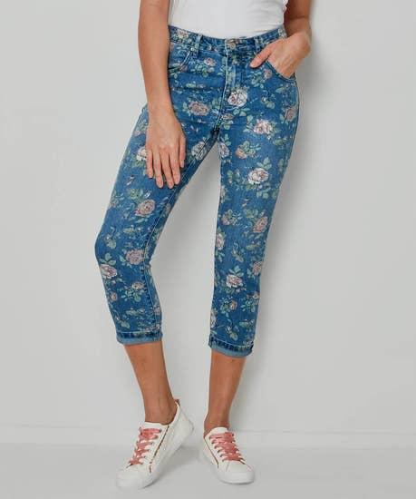 Rose Print Capri Jeans