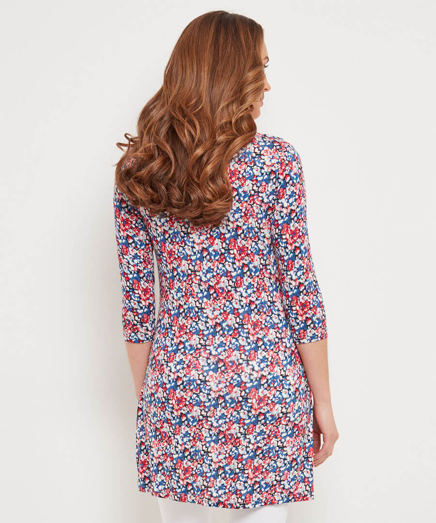 Nautical Ditsy Floral Tunic Model Back
