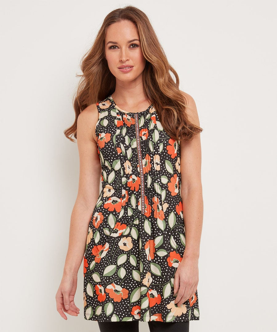 Offbeat Floral Tunic Model Front