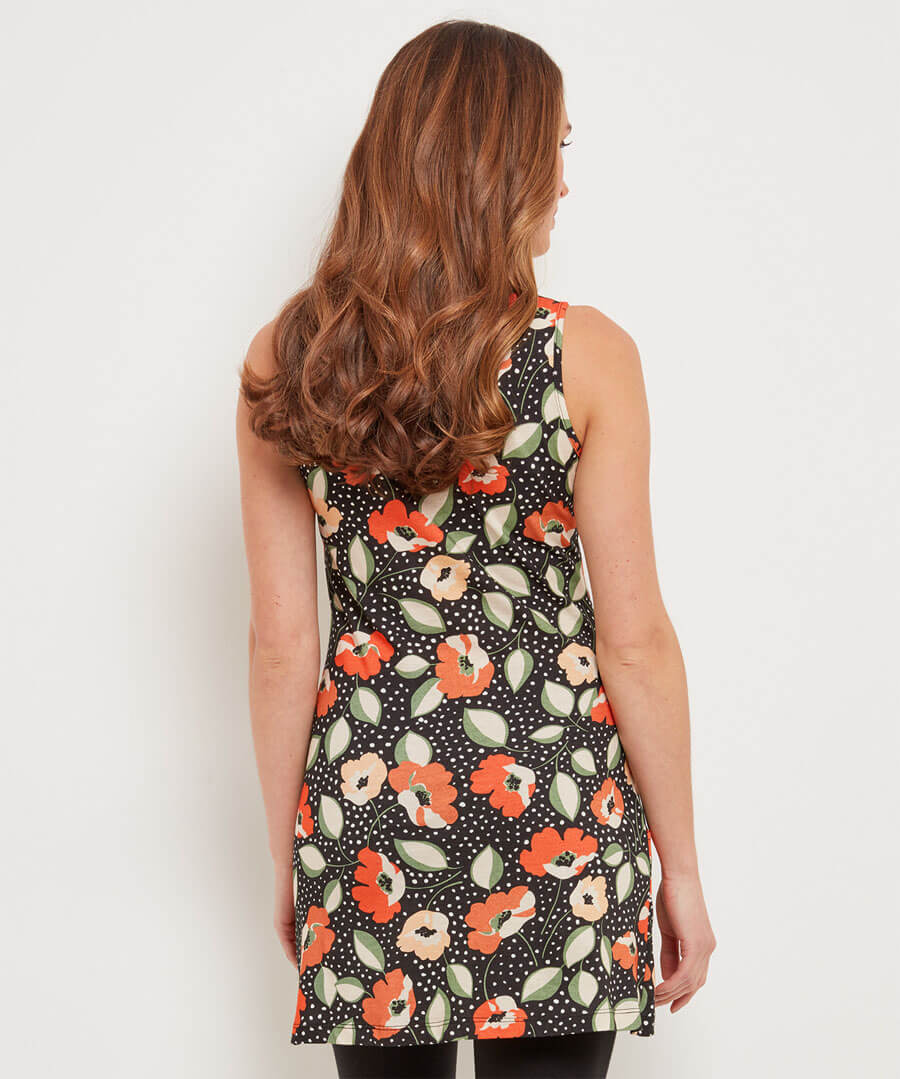 Offbeat Floral Tunic Model Back