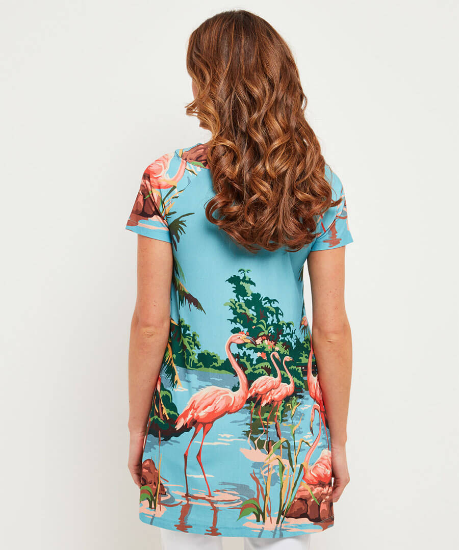 Wild Flamingo Tunic Model Back