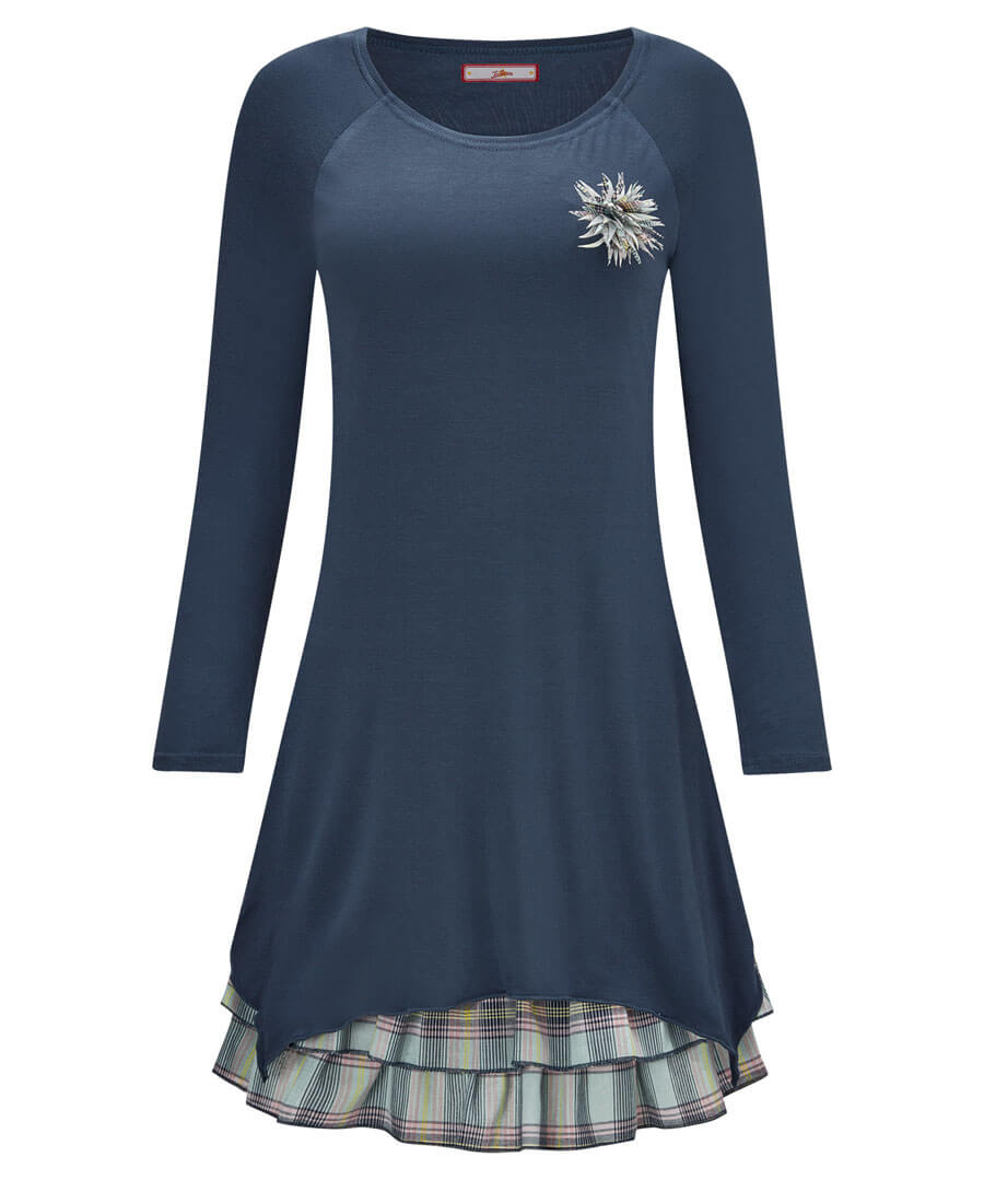 Layered Check Tunic Model Front