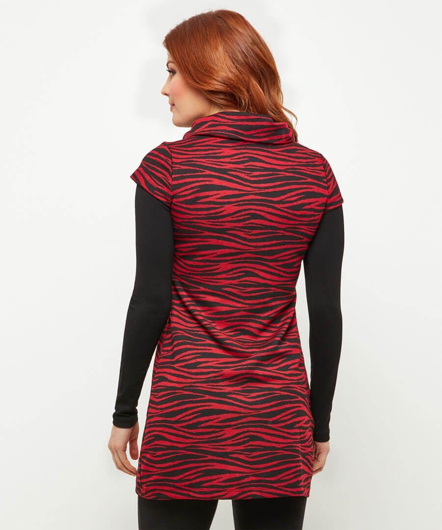 Red Zebra Tunic Model Back