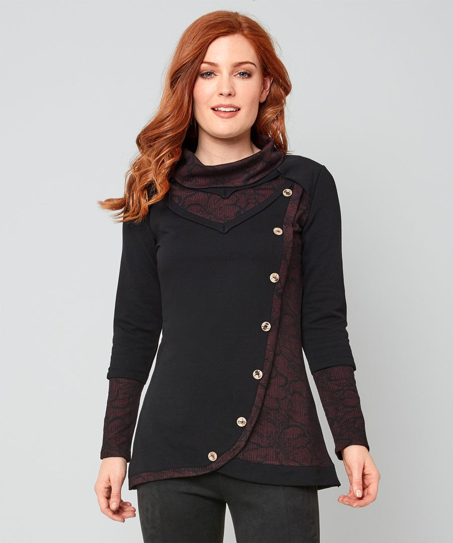 Flattering Loopback Tunic Model Front