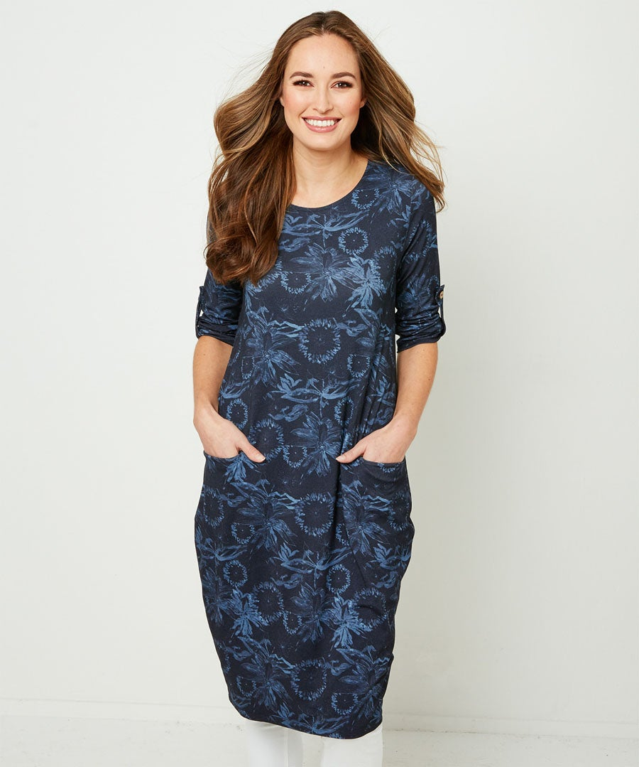 Tonal Floral Tunic Model Front