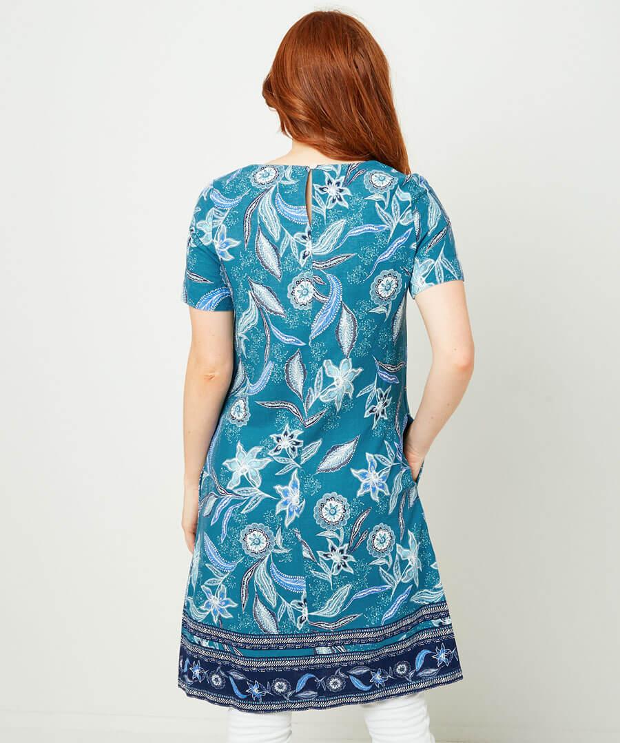 Linen Blend Tunic Model Back